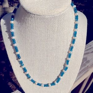 Caribbean Blue Apatite/Pearl necklace